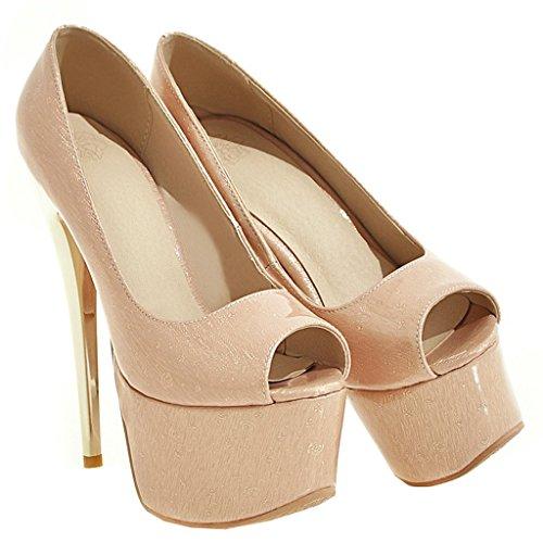 ENMAYER Frauen Aprikose#38 Lackleder Sexy Plattform Stiletto Super High Heels Runde und Peep Toe Pumps Slip auf Hochzeitskleid Court Schuhe 39 B(M) EU