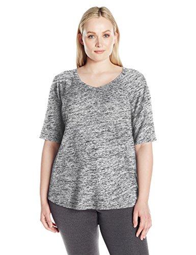 Calvin Klein Performance Women's Plus Size Ballet Sleeve Batwing Top, Marble, 2X