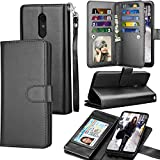 LG Stylo 4 Case, LG Q Stylus Wallet Case, LG Stylo 4 Plus PU Leather Case, Tekcoo ID Cash Credit Card Slots Holder Purse Carrying Folio Flip Cover [Detachable Magnetic Hard Case] & Kickstand - Black