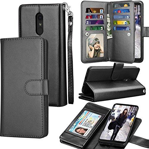 LG Stylo 4 Case, LG Q Stylus Wallet Case, LG Stylo Plus PU Leather Case, Tekcoo Luxury ID Cash Credit Card Slots Holder [Black] Carrying Folio Flip Cover [Detachable Magnetic Hard Case] & Kickstand by Tekcoo