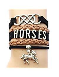 DOLON Double Infinity Horses Wrap Charm Bracelet Jewelry-Gift for Horse Lovers