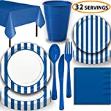 Disposable Tableware, 32 Sets - Royal Blue Stripes - Dinner Plates, Dessert Plates, Cups, Lunch Napkins, Cutlery, and Tablecloths: Premium Quality Party Supplies Set