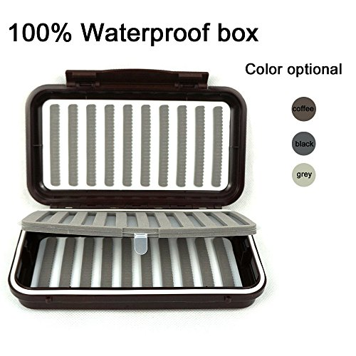 Aventik 100% Waterproof Swing Leaf Fly Box 1,000 Flies Capacity Slit Foam for Fly Fishing Flies (Coffee)