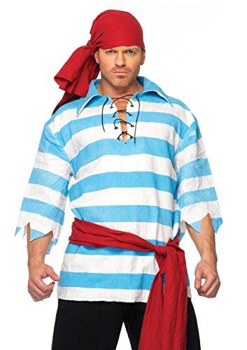 Leg Avenue Men's Pillaging Pirate Costume, Blue/White, Small/Medium