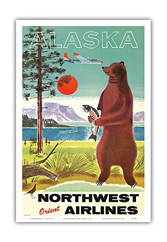 Alaska - Northwest Orient Airlines - Kodiak Alaskan Brown Grizzly Bear - Vintage Airline Travel Poster c.1960s - Master Art Print - 12in x 18in - 1960 Poster Print