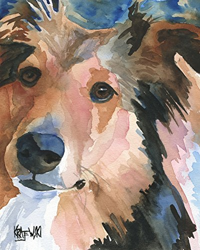 (Shetland Sheepdog Sheltie Dog Fine Art Print on 100% Cotton Watercolor Paper)