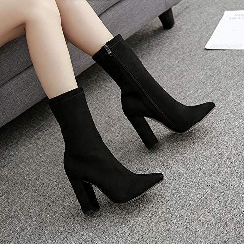 Bottes Talons Baskets Club Sexy Chaussures Femmes lgants Chaussons D'quitation Toe Casual Pour Cinnamou Noir Pointu wX0CFqHW