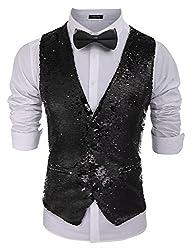 Men's Slim Fit Sequins V-Neck Waistcoat