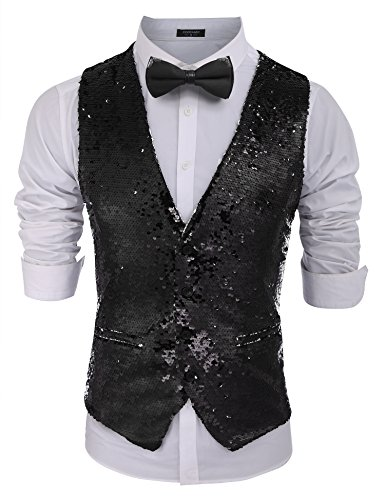 COOFANDY Men's Fashion Shiny Sequins Vests Halloween Christmas Slim Fit Stitching Vest(Black, L) -