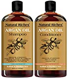 Moroccan Argan Oil Shampoo & Conditioner Set Sulfate Free (2 x 16 Fl OZ), Volumizing Hair Regrowth Restoration Formula, Helps Thinning Hair, Hair Loss, Vitamin Enriched Infused with Keratin for Daily Use of Men and Women
