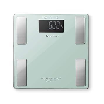 Taurus Syncro Glass Complet Báscula baño digital inteligente, porcentaje grasa y agua, masa muscular