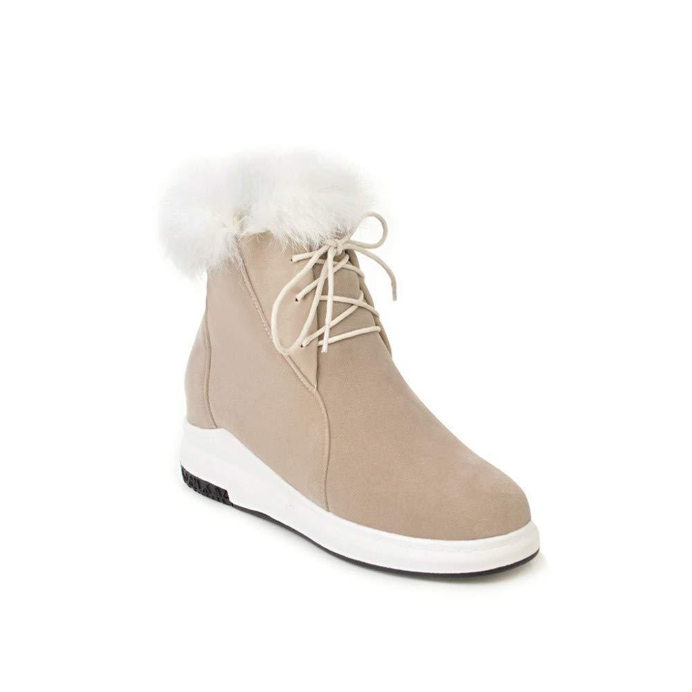 Buff ZHRUI Stivali da Neve - Fondo Spesso Stivali Impermeabili in Cotone con Tubo Corto Stivali da Neve Caldi Invernali 34-43 (Coloreee   Buff, Dimensione   38)