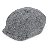 IC ICLOVER 8 Piece Newsboy Cap Irish Vintage Style Twill Casual Flat Hat (Gray Herringbone)