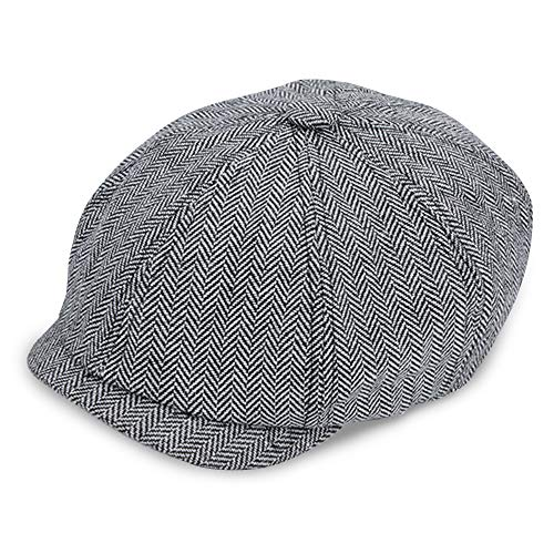 IC ICLOVER 8 Piece Newsboy Cap Irish Vintage Style Twill Casual Flat Hat (Gray Herringbone) by IC ICLOVER