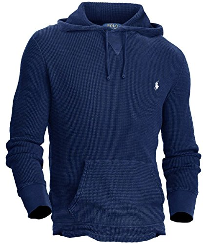 Polo Ralph Lauren Mens Waffle Knit Signature Hoodie Navy -