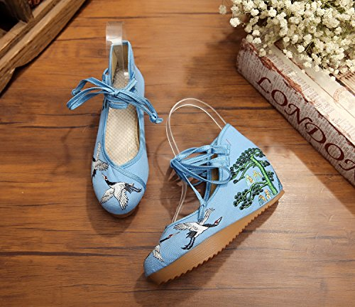 La Femmes Et Bretelles Grue Broderie Bleu As Chaussures Casual Augmenter Fanwer De Pour Compenses Plateforme Toile Ni Hauteur Talon A0HTqx