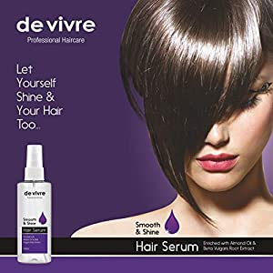 de vivre Smooth & Shine Hair Serum 100ml | Beet Root Extract | Almond Oil | For Silky and Smooth Hair | For Men and…