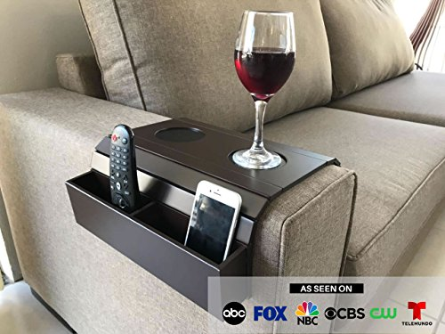 Sofa Arm Tray Table. Remote Control and Cellphone Organizer Holder, Arm Rest Organizer, Arm Rest Table with Pockets (Tobacco/Dark Brown)