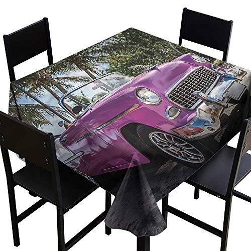 (home1love Cars Tablecloth for Kids/Childrens Cabriolet Parked on Beach for Events Party Restaurant Dining Table Cover 50 x 50)