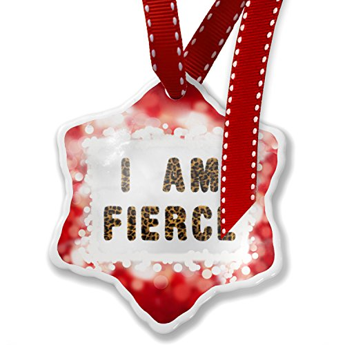 Christmas Ornament I Am Fierce Cheetah Cat Animal Print, red - Neonblond by NEONBLOND