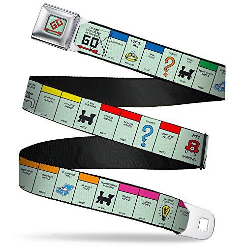 Buckle-Down Seatbelt Belt - American Monopoly Board Game Spaces - 1.5