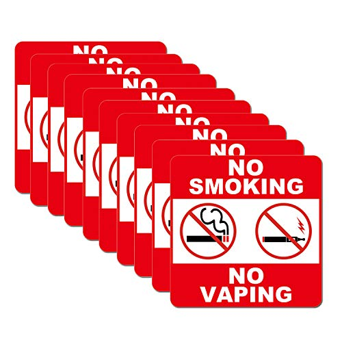 Laminated Sign Sticker - No Smoking No Vaping Sign Label Sticker Set of 10 Pack 6 x 6 Inch 5 Mil Vinyl Laminated for Ultimate Protection Durability Self Adhesive Decal UV Protected Weatherproof