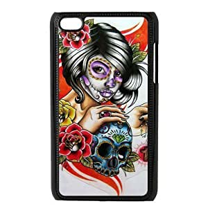 LeonardCustom Hard Snap On Cover Case for iPod Touch 4 (4th Generation), Day of the Dead Skull