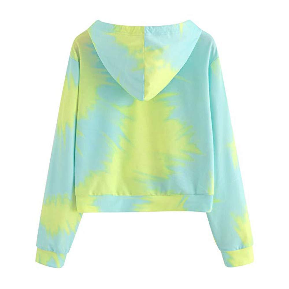 SADUORHAPPY Sweatshirts Womens Long Sleeve Casual Printed Sweatshirt Crop Top Hoodies