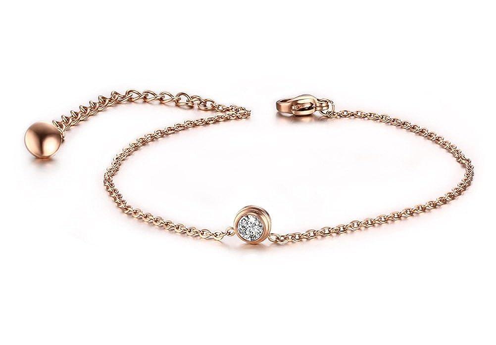Stainless Steel CZ Crystal Anklets Bracelet Foot Chain Jewelry, Rose Gold, Nickel Free 8 Nickel Free 8 Vnox Jewelry JC--001