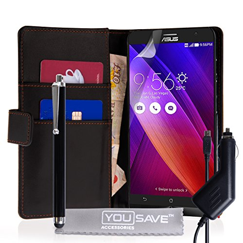 Yousave Accessories Asus Zenfone 2 (5.5 Inch Version) Case Black PU Leather Wallet Cover With Stylus Pen And Car Charger