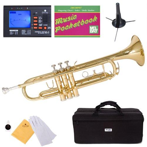 Mendini mtt-l lacada en oro, latón BB Trompeta + sintonizador, funda, función atril, Pocketbook, boquilla y más