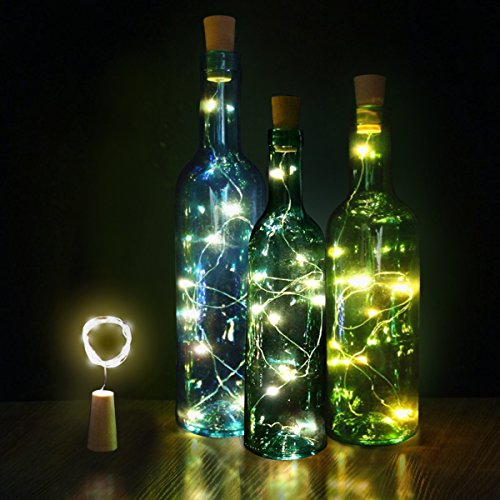 Innozon Wine Bottle Light Cork Lights 4.26ft/1.3m 15 LEDs Copper Wire Starry String Light for Bottle DIY and Party, Christmas, Halloween, Décor, Xmas Gift, 3 Pack, Warm (Outside Decorating Ideas)
