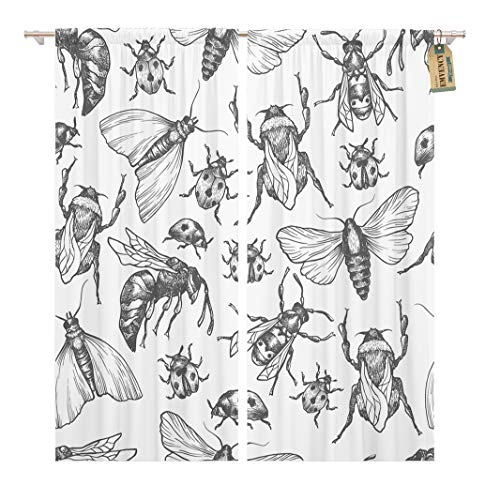 - Golee Window Curtain Pattern Insects in Different Poses Moth Butterfly Bee Bumblebee Home Decor Rod Pocket Drapes 2 Panels Curtain 104 x 84 inches
