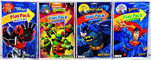 Superman / Transformers Prime / Batman / Teenage Mutant Ninja Turtles - Set of 24 Play Packs Grab & Go - party coloring and activity play packs