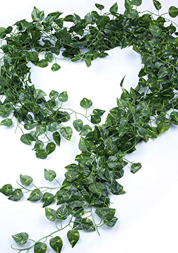 MaxFlowery -Sale- Artificial Heart Shape Leaf Hanging Pothos Ivy Vines Bundle, 86 Ft Faux Dropping Plants Greenery Garland, for Indoor Outdoor Wedding, Home Decoration -