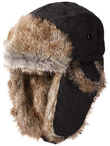 Chaps Mens Men's Herringbone Trapper Hat, Black One Size