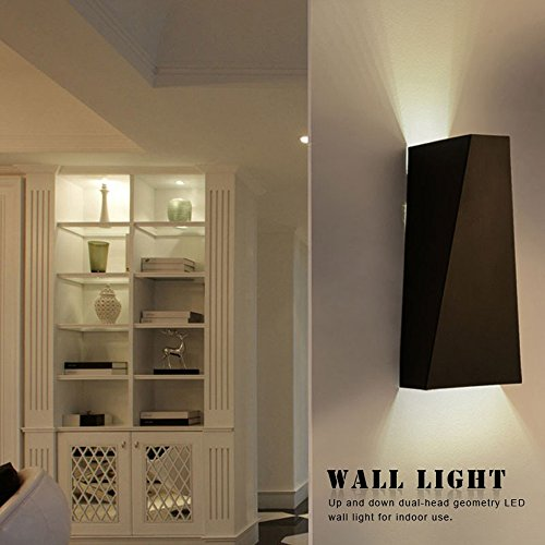 (Rumfo LED Wall Light, Up Down Wall Lamp Spot Light Sconce Lighting Flat Mirror Wall for Hall Bedroom Corridor Lamp Restroom Bathroom Reading Lamp Warm White (waterproof, Black))
