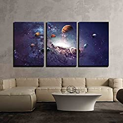 "wall26 - 3 Piece Canvas Wall Art - High Resolution Images Presents Creating Planets of the Solar System. - Modern Home Decor Stretched and Framed Ready to Hang - 16""x24""x3 Panels"