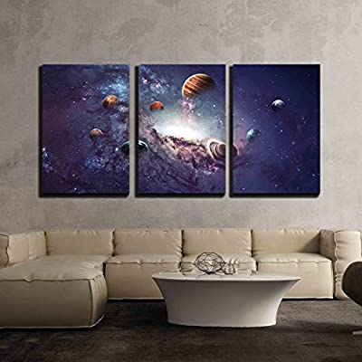3 Piece Canvas Wall Art - High Resolution Images Presents Creating Planets of The Solar System. - Modern Home Art Stretched and Framed Ready to Hang - 16