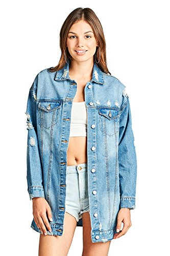 Denim Distressed Oversized Basic Collar Button Front Long Ripped Jacket (Large, Light Blue) Basic Denim Jacket