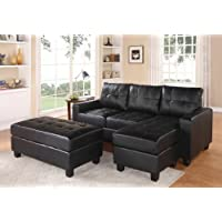 2 pc Lyssa collection black bonded leather match upholstered sectional sofa with reversible chaise with squared arms and free ottoman