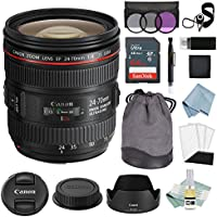 Canon EF 24-70mm f/4L IS USM Lens + Canon EF 24-70mm Lens Advanced Accessory Kit - Canon Lens Bundle Includes EVERYTHING You Need to Get Started