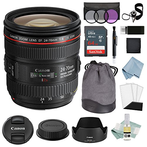 Canon EF 24-70mm f/4L is USM Lens + Advanced Accessory Kit - Canon Lens Bundle Includes to Get Started