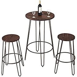 COSTWAY 3 Pieces Bar Table Set 2 Stools Round Height Steel Pub Dining Bistro Table Set Coffee
