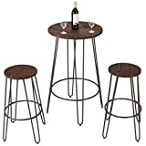 Cheap COSTWAY 3 Pieces Bar Table Set with 2 Stools Round Height Steel Pub Dining Bistro Table Set Coffee
