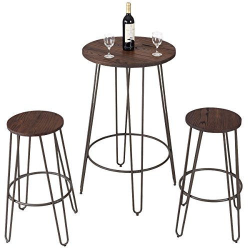 Costway 3 Pieces Bar Table Set with 2 Stools Round Height Steel Pub Dining Bistro Table Set Coffee (Bar Bistro Set)