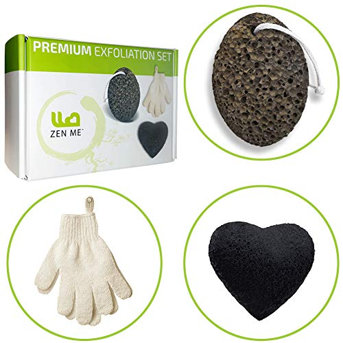 Full Body Exfoliation Set for Smooth Skin from Head to Toe - Pumice Stone for Feet, Exfoliating Gloves, Konjac Sponge for Your Face