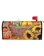 Cute, Colorful, Pumpkin, Halloween Magnetic Mailbox Cover Standard Size Canvas Welcome Mailwraps Farmhouse Wraps Post Box Garden Yard Home Decor for Outdoor