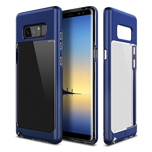 Galaxy Note 8 Case Patchworks Contour Series in Blue - Transparent Back and Clear Dual Hybrid Slim Protection Cover Case