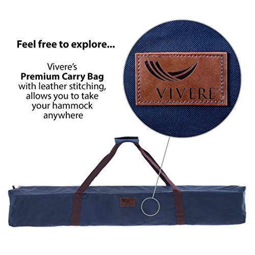 Vivere Double Hammock with Space Saving Steel Stand, Natural